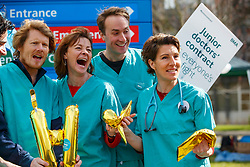 © Licensed to London News Pictures. 06/04/2016. London, UK. Cast of 'Green Wing' sitcom Julian Rhind-Tutt, Pippa Haywood, Oliver Chris and Tamsin Greig join junior doctors of Northwick Park Hospital in north London at their picket line as junior doctors in England start the forth 48-hours strike in a dispute over pay, working hours and patient safety on Wednesday, 6 April 2016. Photo credit: Tolga Akmen/LNP