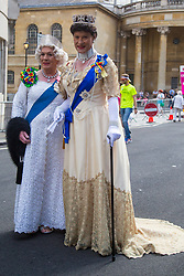 London, July 8th 2017. Thousands of LGBT+ revellers take part in the annual Pride in London parade under the banner #LoveHappensHere. PICTURED: Two queens pose for pictures.