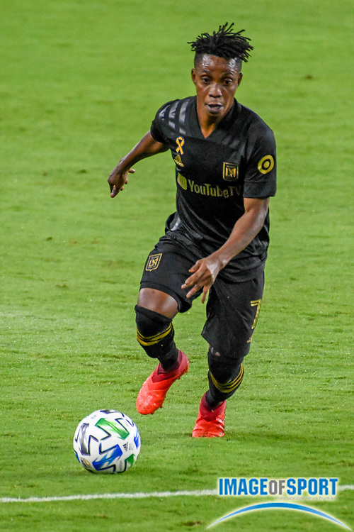 LAFC forward Latif Blessing (7) runs with the ball during a MLS soccer game, Sunday, Sept. 27, 2020, in Los Angeles. The San Jose Earthquakes defeated LAFC 2-1.(Dylan Stewart/Image of Sport)