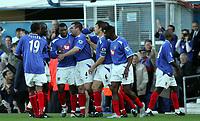 Fotball<br /> Premier League England 2004/2005<br /> Foto: SBI/Digitalsport<br /> NORWAY ONLY<br /> <br /> 30.10.2004<br /> Portsmouth v Manchester United<br /> <br /> Portsmouth's Yakubu Ayegbeni celebrates his goal against Manchester.