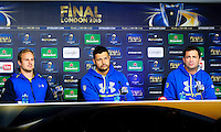 Nick ABENDANON / Damien CHOULY / Franck AZEMA - 01.05.2015 - Conference de presse Clermont avant la finale - European Rugby Champions Cup -Twickenham -Londres<br /> Photo : David Winter / Icon Sport