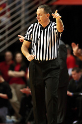 6 February 2010: That way says referee Don Daily. The Redbirds of Illinois State pull out a win against the Bulldogs of Drake 71-68 on Doug Collins Court inside Redbird Arena at Normal Illinois.