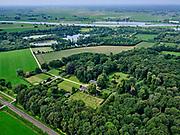 Nederland, Overijssel, Gemeente Zwolle, 21–06-2020; Landgoed Windesheim.IJssel in de achtergrond. Van de voormaligehavezateHuis te Windesheim resten nog (slechts) twee bouwhuizen, rond de ruïne van het huis de slotgracht.<br /> Windesheim estate. Only two assistance houses are left from the former manor house Windesheim.<br /> <br /> luchtfoto (toeslag op standaard tarieven);<br /> aerial photo (additional fee required)<br /> copyright © 2020 foto/photo Siebe Swart