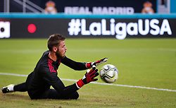 July 31, 2018 - Miami Gardens, Florida, USA - Manchester United F.C. goalkeeper David De Gea (1) warms up minutes before the start of an International Champions Cup match between Real Madrid C.F. and Manchester United F.C. at the Hard Rock Stadium in Miami Gardens, Florida. Manchester United F.C. won the game 2-1. (Credit Image: © Mario Houben via ZUMA Wire)