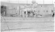 """RGS 2-8-0 #18 at Salida roundhouse.<br /> RGS  Salida, CO  Taken by Root, George - 1904<br /> In book """"Rio Grande Southern II, The: An Ultimate Pictorial Study"""" page 15<br /> See RD155-038 for identical but lighter image."""