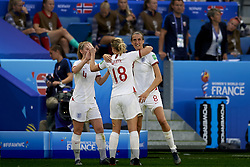 June 27, 2019 - Le Havre, France - Ellen White (Birmingham City WFC) and Jill Scott (Manchester City WFC) of England celebrate after scoring her sides first goal during the 2019 FIFA Women's World Cup France Quarter Final match between Norway and England at  on June 27, 2019 in Le Havre, France. (Credit Image: © Jose Breton/NurPhoto via ZUMA Press)