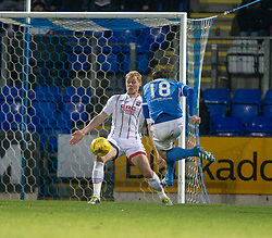 Ross County's Jay McEveley gives St Johnstone a penalty with a hand ball in the box. St Johnstone 2 v 4 Ross County. SPFL Ladbrokes Premiership game played 19/11/2016 at St Johnstone's home ground, McDiarmid Park.
