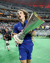 Chelsea's David Luiz celebrates with the trophy after the UEFA Europa League final at The Olympic Stadium, Baku, Azerbaijan. PRESS ASSOCIATION Photo. Picture date: Wednesday May 29, 2019. See PA SOCCER Europa. Photo credit should read: Bradley Collyer/PA Wire