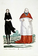French Revolution 1789. Anti-clerical caricature on confiscation of wealth of the Church.   The Abbe as he his today (left). The Abbe in former times (right). Contemporary hand-coloured engraving.