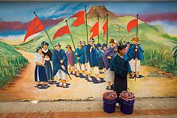 South America, Ecuador, Otavalo,  Plaza de Ponchos, mural