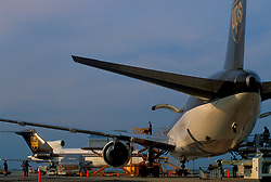 UPS planes being loaded with cargo for delivery