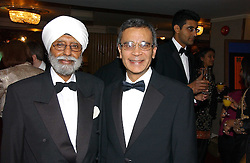 Left to right, JUDGE MOTA SINGH the first Sikh judge in the United Kingdom and GURMEET KHANGURA chairman of the Ethnic Media Group which publishes the Eastern Eye at the 10th Anniversary Asian Business Awards 2006 at the London Grosvenor Hotel Park Lane, London on 19th April 2006.<br />