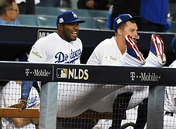 October 6, 2017 - Los Angeles, California, U.S. - Los Angeles Dodgers' Yasiel Puig smiles prior to a National League Divisional Series baseball game against the Arizona Diamondbacks at Dodger Stadium on Friday, Oct. 06, 2017 in Los Angeles. (Photo by Keith Birmingham, Pasadena Star-News/SCNG) (Credit Image: © San Gabriel Valley Tribune via ZUMA Wire)