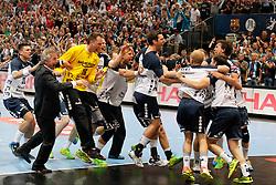 31.05.2014, Lanxess Arena, Koeln, GER, EHF CL, FC Barcelona vs SG Flensburg Handewitt, Halbfinale, im Bild Flensburger Abschlussjubel nach dem verwandeltem Elfmeter von Hampus Wanne #14 (SG Flensburg Handewitt - 2.vr) // during the EHF Champions League semifinal match between FC Barcelona and SG Flensburg Handewitt at the Lanxess Arena in Koeln, Germany on 2014/05/31. EXPA Pictures © 2014, PhotoCredit: EXPA/ Eibner-Pressefoto/ Schueler<br /> <br /> *****ATTENTION - OUT of GER*****