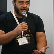 London, England, UK. 20th October 2017. Patrol Baboumian is a Vegan Strongman talk of Vegan Sports Stars at The First VegfestUK Trade at Olympia London, UK