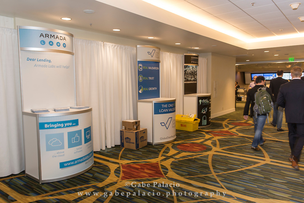 Kiosks in Mission Street tunnel at the LendIt USA 2016 conference in San Francisco, California, USA on April 11, 2016. (photo by Gabe Palacio)