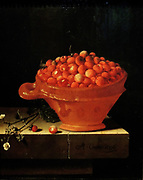 Adriaen Coorte, Bowl of Strawberries (one of four still life paintings) The painting from 1697 portrays strawberries