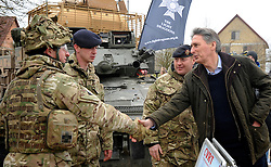 © Licensed to London News Pictures. 09/03/2012. Copedown Hill, UK. Secretary of Defence Philip Hammond visits troops who are being deployed to Afghanistan next month. The 12thMechanized Brigade (12 Mech Bde) at Copehill Down, Salisbury Plain Training Area, Wiltshire,on FRIDAY 09 MARCH 2012, as it prepares to deploy to Helmand Province, Afghanistan, on Operation Herrick 16, in the Spring of this year. The Brigade were performing a dynamic demonstration of combined Afghan/ISAF operations supported by surveillance assets and casualty evacuation capability. Tornado GR4 fast jest ground support was also displayed.. Photo credit : Stephen SImpson/LNP