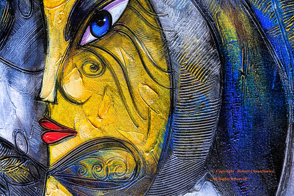 Woman in Profile: This colourful modernist painting depicts a woman's face in profile, Havana Cuba.