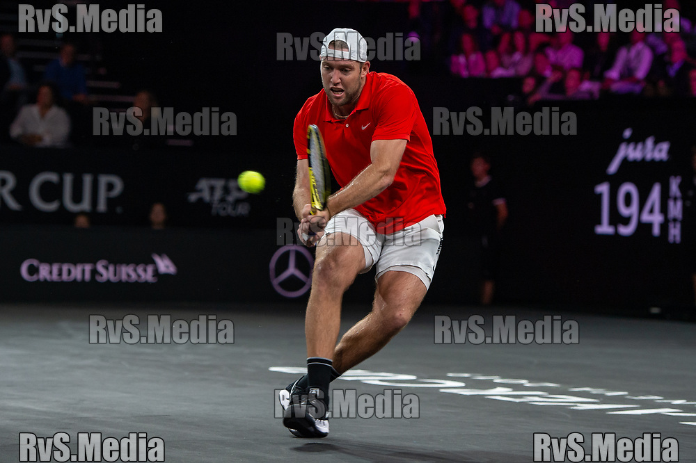 GENEVA, SWITZERLAND - SEPTEMBER 20: Jack Sock of Team World plays a backhand during Day 1 of the Laver Cup 2019 at Palexpo on September 20, 2019 in Geneva, Switzerland. The Laver Cup will see six players from the rest of the World competing against their counterparts from Europe. Team World is captained by John McEnroe and Team Europe is captained by Bjorn Borg. The tournament runs from September 20-22. (Photo by Monika Majer/RvS.Media)