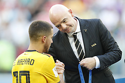 Eden Hazard of Belgium, FIFA President Gianni Infantino during the 2018 FIFA World Cup Play-off for third place match between Belgium and England at the Saint Petersburg Stadium on June 26, 2018 in Saint Petersburg, Russia