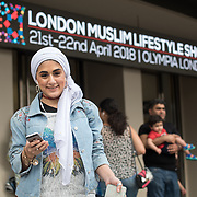 Olympia London, UK. 21 April 2018: Thousands of Muslim faith attended the London Muslim Lifestyle Show 2018 with hundreds of stalls fashion, stylish and delicious food with an amazing friendly people and atmosphere.