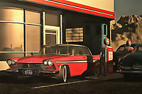 This image depicting an old-time Plymouth at a rural gas station brings to mind warm memories of warm summer nights. It brings to mind the music of Bruce Springsteen. It creates a powerful connection between ourselves and our memories. At the same time, the scene is simply an engaging one. It is a beautiful car on a beautiful early evening. The tank is almost full. The night is going to have something to offer. The sooner you get out on the road, the sooner you can experience it yourself. Available as wall art, t-shirts, or as interior products. .<br />