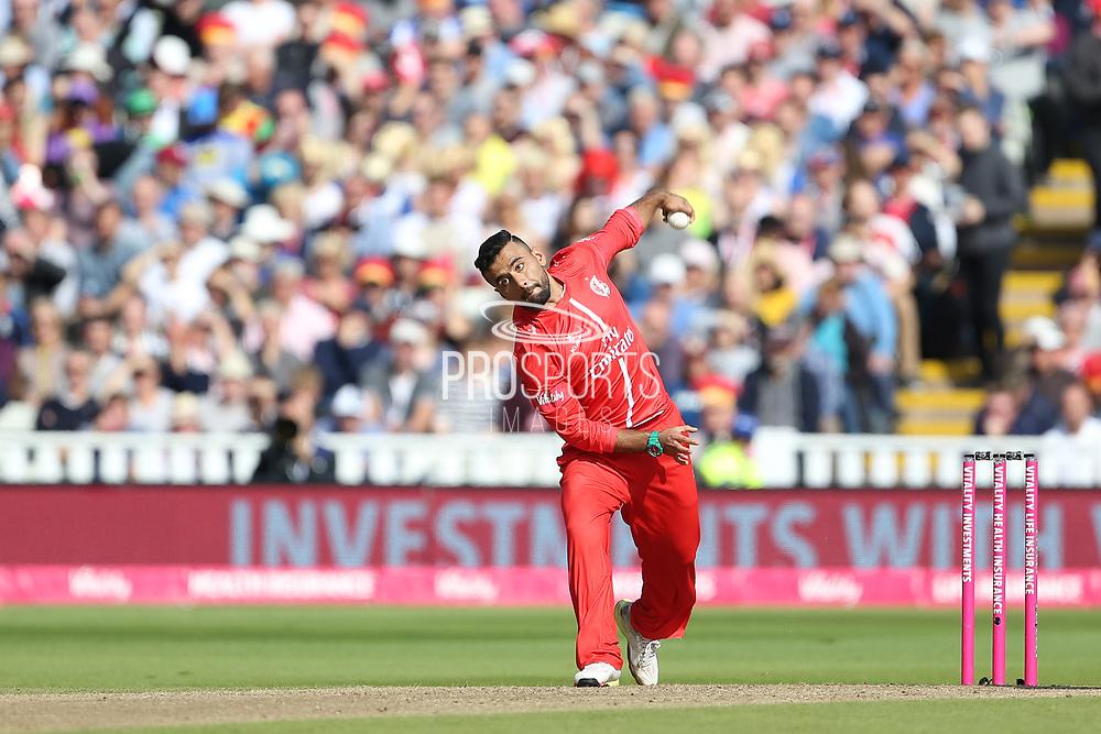 Lancashires Zahir Khan during the Vitality T20 Finals Day semi final 2018 match between Worcestershire Rapids and Lancashire Lightning at Edgbaston, Birmingham, United Kingdom on 15 September 2018.