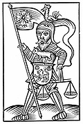 Saxon god Hermensul (Irmensul) in armour and carrying scales, presiding over executive justice,   From Herman Stangefol 'Annales Circuli Westphaliae', 1656. Woodcut