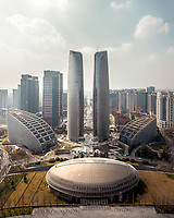 Aerial view of Tianfu International Finance Centre, Chengdu, China