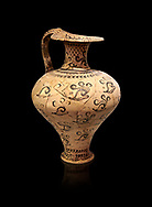 Minoan decorated jug with Marine style shell decoration, Zakros Palace  1500-1450 BC; Heraklion Archaeological  Museum, black background. .<br /> <br /> If you prefer to buy from our ALAMY PHOTO LIBRARY  Collection visit : https://www.alamy.com/portfolio/paul-williams-funkystock/minoan-art-artefacts.html . Type -   Heraklion   - into the LOWER SEARCH WITHIN GALLERY box. Refine search by adding background colour, place, museum etc<br /> <br /> Visit our MINOAN ART PHOTO COLLECTIONS for more photos to download  as wall art prints https://funkystock.photoshelter.com/gallery-collection/Ancient-Minoans-Art-Artefacts-Antiquities-Historic-Places-Pictures-Images-of/C0000ricT2SU_M9w