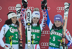 28-12-2011 SKIEN: FIS WORLD CUP: LIENZ<br /> (L-R) 3rd Federica Brignone ITA, 1st Anna Fenninger AUT, 2nd Tessa Worley FRA // during Giant Slalom first Run at FIS Ski Worldcup at Worldcupcourse Hochstein in Lienz<br /> **NETHERLANDS ONLY** <br /> ©2011-FotoHoogendoorn.nl/EXPA/M. Gruber