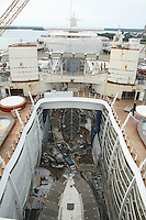 Oasis of the Seas at the shipyard in Turku, Finland where she is being built..Photos show Royal Caribbean's latest  ship 2 months before completion. .Central Park