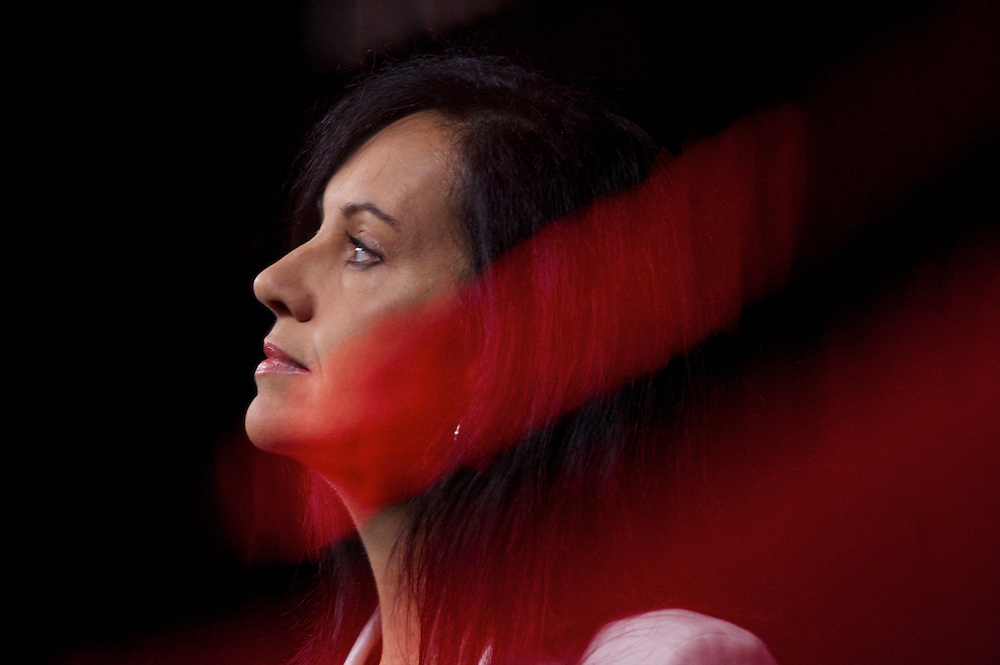 MP Caroline Flint grants a television interview during the Labour Party Conference in Manchester on 28 September 2010.