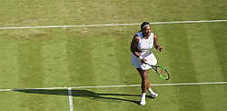 LONDON, ENGLAND - Tuesday, July 2, 2019: Serena Williams (USA) celebrates during the Ladies' Singles first round match on Day Two of The Championships Wimbledon 2019 at the All England Lawn Tennis and Croquet Club. (Pic by Kirsten Holst/Propaganda)