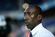 Jimmy Floyd Hasselbaink, the QPR manager looks on from the dugout .EFL Skybet football league championship match, Queens Park Rangers v Newcastle Utd at Loftus Road Stadium in London on Tuesday 13th September 2016.<br /> pic by John Patrick Fletcher, Andrew Orchard sports photography.