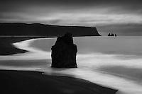 View of Reynisfjara Beach Near Vik Iceland. black & white