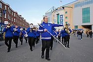 Chelsea Brass Band marching outside Stamford  Bridge before k/o. Barclays Premier league match, Chelsea v Everton at Stamford Bridge in London on Saturday 16th January 2016.<br /> pic by John Patrick Fletcher, Andrew Orchard sports photography.