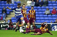 © Peter Spurrier/Sportsbeat Images <br /> <br />04/10/2003 - Photo  Peter Spurrier<br />2003/04 Nationwide Football Div 1 Reading Town FC v Bradford City FC.<br />Ben Muirhead stretch's out to take the ball of  Nicky Forster.