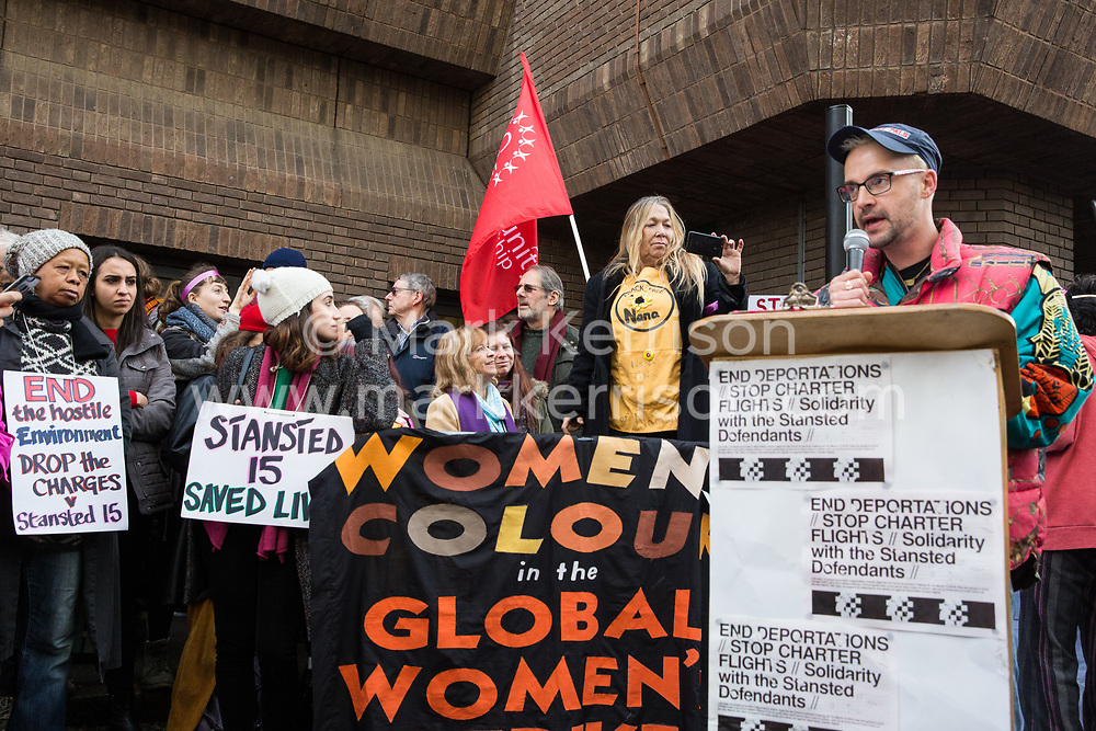 Chelmsford, UK. 6th February, 2019. Dan Glass of ACT UP London addresses activists from around the UK gathered to show solidarity with the Stansted 15 before their sentencing at Chelmsford Crown Court. The Stansted 15 were convicted on 10th December of an anti-terrorism offence under the Aviation and Maritime Security Act 1990 following non-violent direct action to try to prevent a Home Office deportation flight carrying precarious migrants to Nigeria, Ghana and Sierra Leone from taking off from Stansted airport in March 2017.