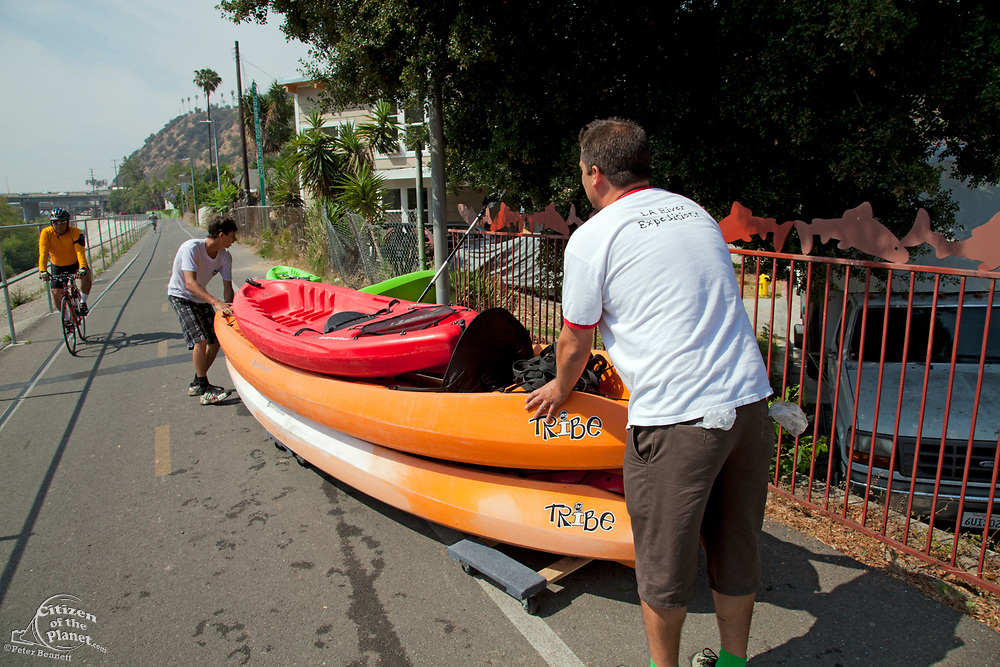 After the river tour, kayaks are loaded onto a truck and participants are given bikes to peddle on the bike path back to their cars upstream. On June 1, 2013, George Wolfe and LA River Expeditions leads a kayak tour down the Los Angeles River. On Memorial Day, the Los Angeles River Pilot Recreational Zone officially opened to the public for kayaking, walking, birdwatching, and fishing along a 2.5 mile stretch of the river in the Elysian Valley. Los Angeles, California
