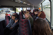 April 1, 2016; Indianapolis, Ind.; The UAA women's basketball team rides the team's charter bus to the Women's Final Four Salute at the Indianapolis Motor Speedway.