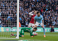 Football - 2018 Carabao (EFL/League) Cup Final - Manchester City vs. Arsenal<br /> <br /> Aaron Ramsey (Arsenal FC) with his arms on his head realises how close his team came to scoring at Wembley.<br /> <br /> COLORSPORT/DANIEL BEARHAM