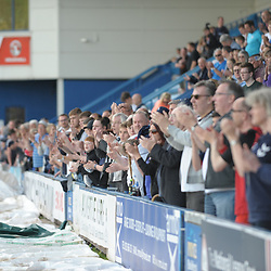 TELFORD COPYRIGHT MIKE SHERIDAN 22/4/2019 - Telford fans applaud the team at full time during the Vanarama Conference North fixture between AFC Telford United and Alfreton Town at the New Bucks Head