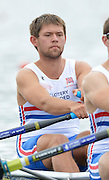 Trackai. LITHUANIA. GBRM2X, Bow Jack BEAUMONT  at the start in the morning heat in the men's double sculls on Lake Galve. 2012 FISA U23 Rowing Championships,  11:08:00 Thursday 12/07/2012 [Mandatory credit: Peter Spurrier/Intersport Images]..Rowing, U23, 2012.