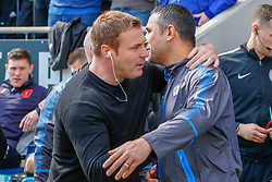 Mansfield Town manager David Flitcroft and Chesterfield manager Jack Lester share a hug before kick-off - Mandatory by-line: Ryan Crockett/JMP - 14/04/2018 - FOOTBALL - Proact Stadium - Chesterfield, England - Chesterfield v Mansfield Town - Sky Bet League Two