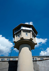 Guard-tower at East German state secret security police or STASI prison at Hohenschönhausen in Berlin Germany