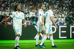 Marcelo of Real Madrid, Gareth Bale, Karim Benzema  of Real Madrid celebrate after Bale scored first goal during the UEFA Champions League final football match between Liverpool and Real Madrid at the Olympic Stadium in Kiev, Ukraine on May 26, 2018.Photo by Sandi Fiser / Sportida