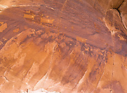 Panoramic view of the Procession Panel, an Anasazi petroglyph site found in the Comb Ridge of San Juan County, near Bluff, Utah, USA.