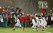 Freedom Plains, NY - Arlington's Rob Stevens, left, is chased by celebrating teammates after scoring the winning goal in overtime against Horace Greeley in the Section 9 Class AA boys' soccer championship game on Nov. 7, 2009.